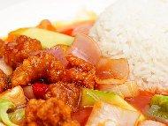 Рецепта Пържено свинско месо по китайски със сладко кисел сос и зеленчуци